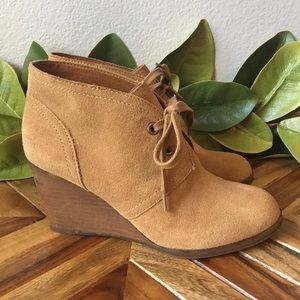 Lucky Brand Sway Lace Up Wedge Ankle Booties
